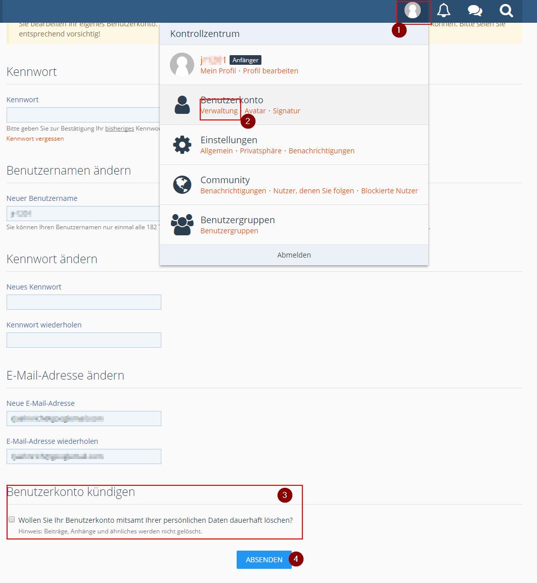 Anleitung Forum Account löschen