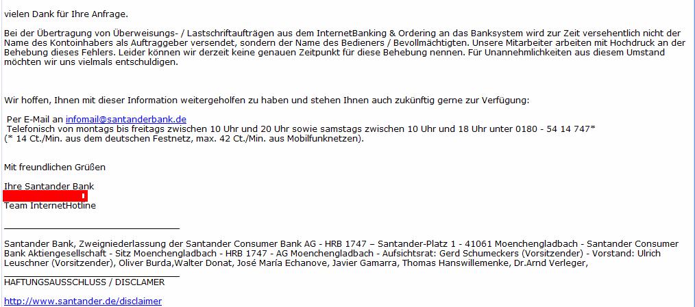 E-Mail der Santander Bank