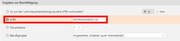 Tin Nummer Deutschland